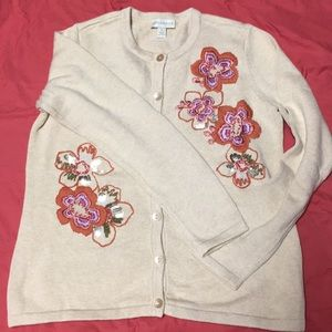 Floral cardigan sweater
